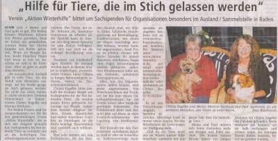 Das Achimer Kreisblatt hat einen Artikel über die Aktion Winterhilfe für ihre Leser herausgebracht; das Interview gaben Christa und Martina