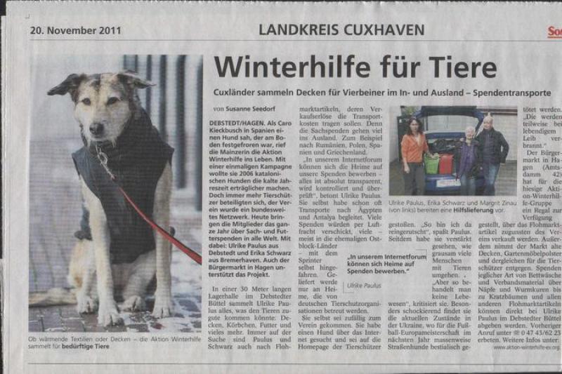 Aktion Winterhilfe im Sonntagsjournal